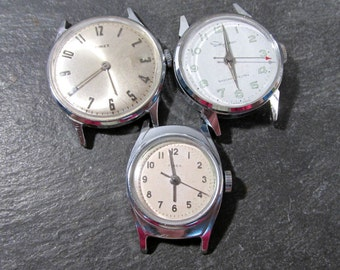 Watches for Parts or Repair Three (3) Watches Mechanical Movements Gears Jewels Face Plates Crystals Timex Jewelry Art Supplies (S39)