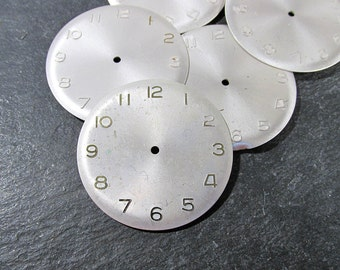 Watch Faces VINTAGE Face Plates Five (5) Embossed Metal Watch Faces STEAMPUNK Watch Face Plates Watch Jewelry Art Assemblage Supplies (S32)