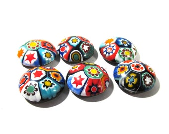 Murano Millefiori Cabochons 15mm Round VINTAGE Cabochons Six (6) Round Mosaic Cabochons Venetian Glass Jewelry Mosaic Supplies (T166)