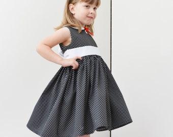 CLEARANCE Girls Dress, polkadot, black, white, vintage inspired, holiday dress, Christmas dress, 4T Ready to Ship