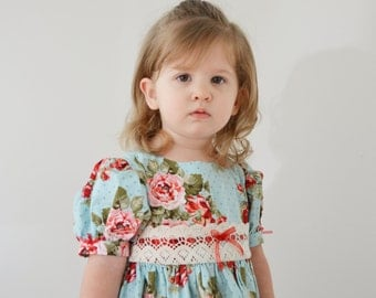 Girls Dress, country, floral, classic, gathered skirt, dress, turquoise, blue, pink, red - 12 ms, 2T, 3T