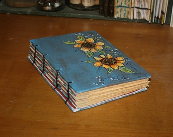Sunflower Journal in Blue, Original Art Journal, Anniversary Gift, Wedding Guest book, Rustic Book, barn Wedding, Drawing book