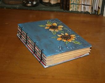 Sunflower Journal in Blue, Original Art Journal, Anniversary Gift, Wedding Guest book, Rustic Book, barn Wedding, Drawing book