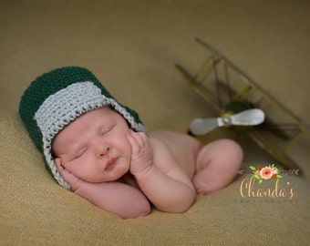 Aviator Hat - Hunter Hat- Dark Green and Gray - Newborn to Toddler size - Newborn Photo Prop - Baby Boy Hat - Aviator Beanie - Hunter Beanie