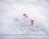 Vintage Cocktail Napkins Roosters Set of 6 Embroidered Madeira Linen Blue White Napkins from AllieEtCie