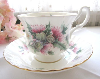 Vintage English Bone China Royal Albert Teacup and Saucer Summertime Series Avebury from AllieEtCie
