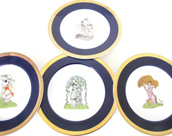 Vintage Dessert Plates Appetizer Plates Gold Trim Weddings Parties Hostess Gift Set of Four from AllieEtCie