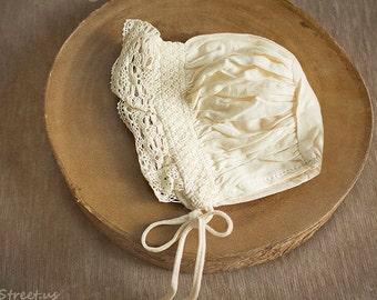 SALE Baby Girl Hat, Cream Baby Bonnet, Newborn Hat, Baby Girl Lace Hat, Vintage Hat, Ivory Cotton Hat, Newborn Props, RTS, Baby Props
