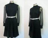 Black Pleated Dress Sheer Chiffon Sleeves // Mid Century 1960s 1970s LBD