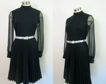 Black Pleated Dress Sheer Chiffon Sleeves // Mid Century 1960s 1970s LBD
