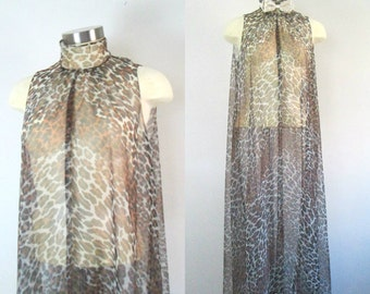 Sheer Leopard Animal Print Gown // 1960s Vanity Fair Maxi Lingerie Gown