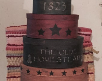 Primitive Colonial Stacking Boxes