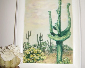Cactus Landscape Oil Painting - Original Vintage 1970  Southwest Saguaro Painting - Green Tones - Phoenix, Arizona - Signed, Framed & Titled