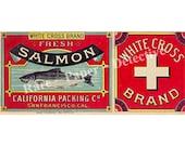 5 Digital Downloads Salmon Can Labels DIY Kitchen Decor Alaska Packers Sockeye Antique Salmon Tin Label Kitchen Label British Columbia River