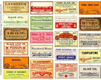Apothecary Druggist Labels - Printed Pharmacy Bottle Sticker, Antique Medicine Label, Poison Label, Prescription Apothecary Collage, 275c