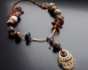 Tribal Earth Necklace with Handmade Artisan Pendant and Beads, Lampwork, Copper, Rich Earthy Tones, Tribal Ceramic Pendant