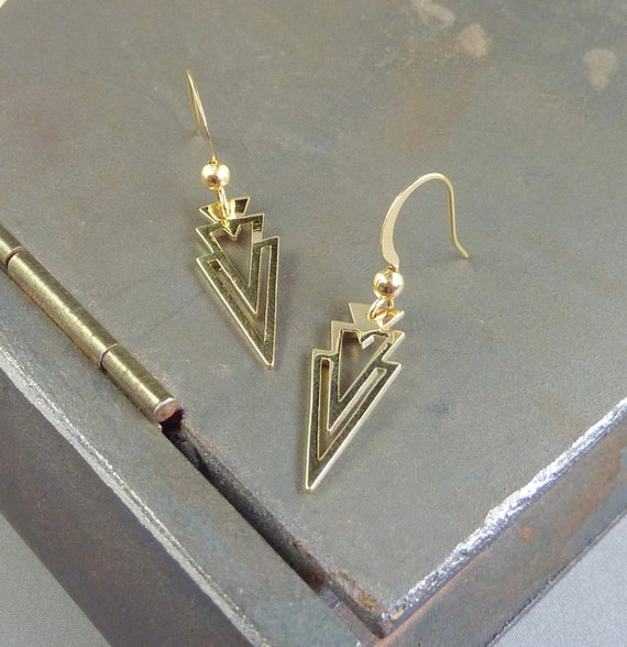 gold double triangle drop earrings 14k yellow gold plated. Black Bedroom Furniture Sets. Home Design Ideas