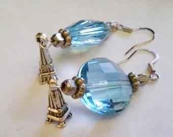 Paris Blue Eiffel Tower Charm Airship Earrings