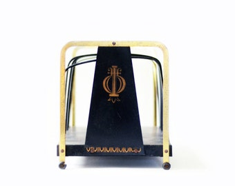 Vintage Desk Organizer | Black | Gold | Metal | Letters | Office Decor