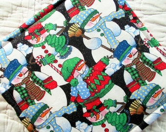 Snowman Hot Pad/mini quilt/pot holder