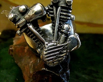 Motorcyle Engine Ring Sterling Silver Free Shipping