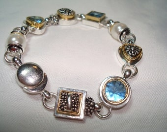 1996 Silver Tone Blue Topaz Colored with Faux Pearls Bracelet.