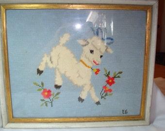 1971 Handmade Little Lamb Large Framed Needlepoint.