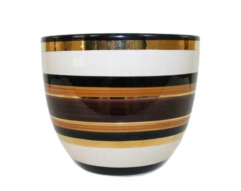Mid-Century Modern Bitossi Pottery Striped Planter Pot