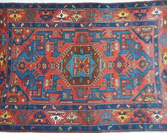 "FREE SHIPPING /// / /// GLORIOUS -- Vintage Caucasian Carpet - 4'4"" x 6'1"""