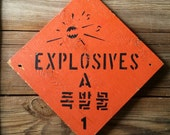 Vintage Sign Explosives Handpainted Distressed Wood Antique Signage Typography