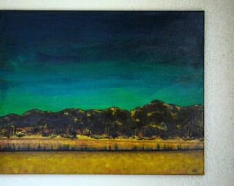"""Desert Salt Lake - """"Salton Sea"""" 16x20 Original Pallet Knife Painting by Erica Putis - FREE Shipping USA"""