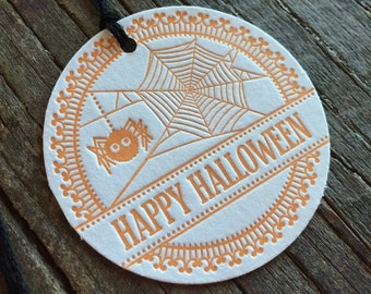 Spider letterpress halloween tags, gift wrap, halloween treat tags set of 6