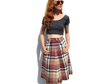 Mauve / beige / grey wool plaid midi skirt with pockets PETITE 1990s 90s VINTAGE