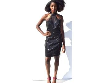 SALE!!!!!!!! Black sequin halter minidress NYE 1980s 80s VINTAGE