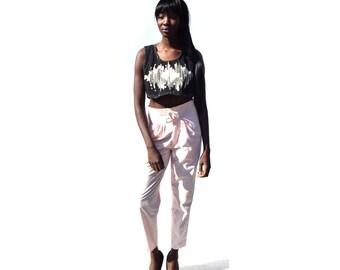 SALE!!!!!!!!!!! Utilitarian drawstring waist high waist high rise pink granny pants 1990s 90s VINTAGE