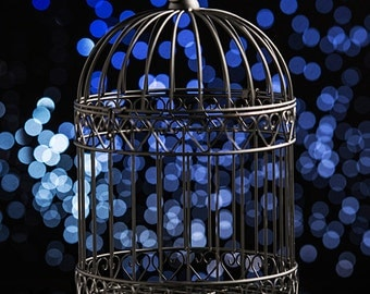 Decorative Black Bird Cage Centerpiece for cards or candles