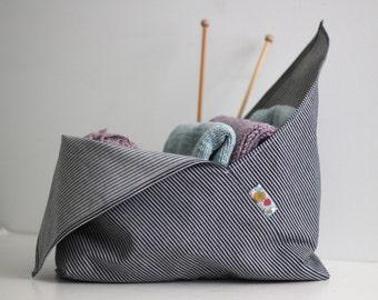 Medium Bento Bag - Project Bag - Knitting Bag - Origami Bag - Reusable Shopping Bag