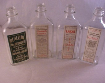 Vintage Glass Medicine Bottles with Vintage Pharmacy Labels Applied