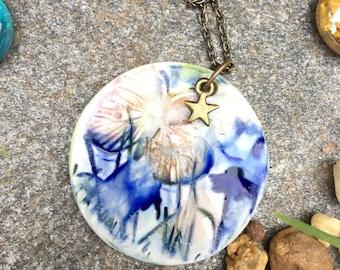 Necklace, porcelain pendant, handmade