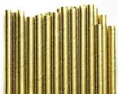 Paper Straws Box of 144 Metallic Gold Foil