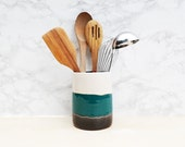 Large White + Turquoise + Black Utensil Holder - READY TO SHIP