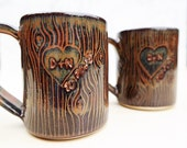 PERSONALIZED Wood Grain Wedding Mug - Set of Two