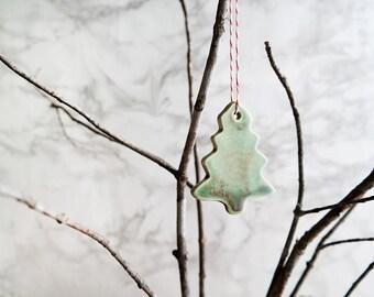 Green Ceramic Christmas Tree Ornament - Set of 3
