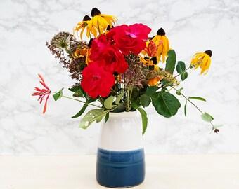 Navy Blue + White Vase
