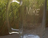 Personalized glass etched beer mug