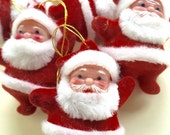 2 Vintage Santa Dancing Ornaments
