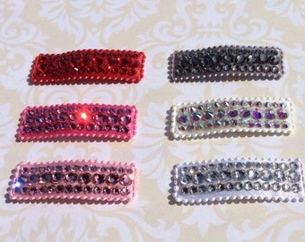 Children's hair clips, Swarovski Crystal hair clips, girls hair clip, baby hair clip, Crystal ribbon hair clip,