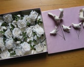 White Wedding Duo: 30 Vintage White Millinery Roses, Japan and Flocked Birds