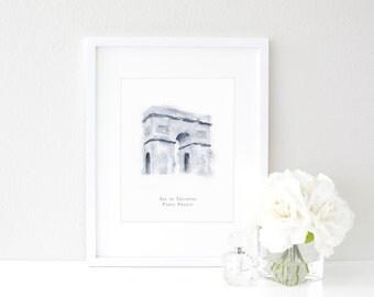 Arc De Triomphe  |  Paris, France  |  Watercolor Print