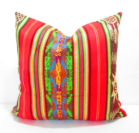 Items similar to boho cushion mexican blanket pillow